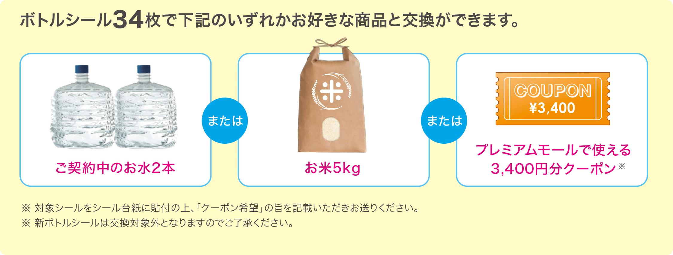 契約中の水2本もしくはお米、またはモールクーポン3400円分と交換